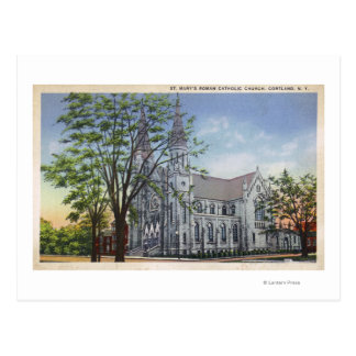 Exterior View of St. Mary's Church Postcard