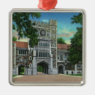 Exterior View of Taylor Hall, Vassar College Square Metal Christmas Ornament