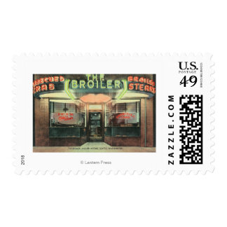Exterior View of the Broiler Restaurant Postage Stamp