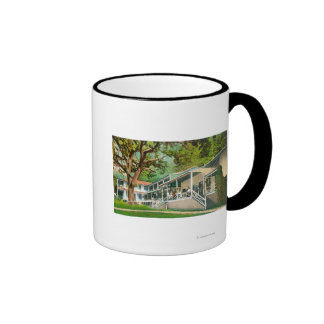 Exterior View of the Geysers Hotel, Guests Posin Coffee Mugs