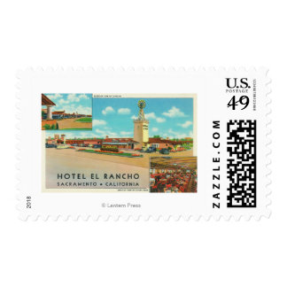 Exterior View of the Hotel el Rancho Postage Stamp