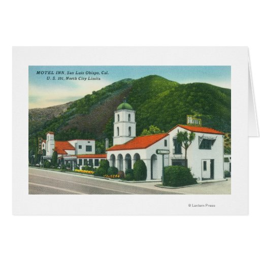 Exterior view of the motel inn greeting card zazzle for Motel exterior design