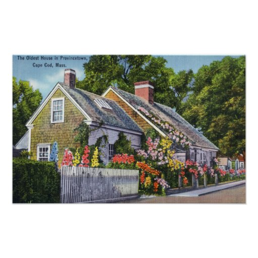 Exterior View of the Oldest House in Town Poster