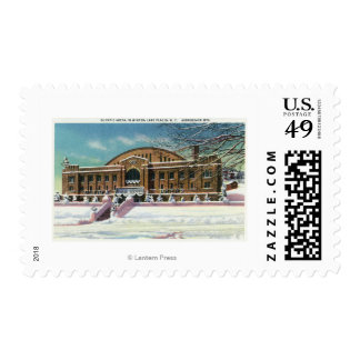 Exterior View of the Olympic Arena in Winter Postage Stamp