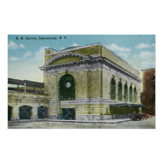 Exterior View of the Railroad Station Poster