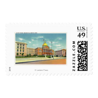 Exterior View of the State House on Beacon Postage