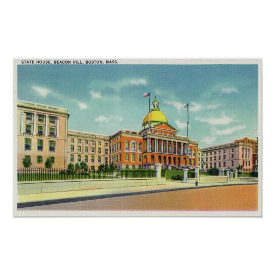 Exterior View of the State House on Beacon Poster