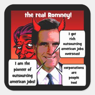 externalización Romney pionero Pegatina Cuadrada