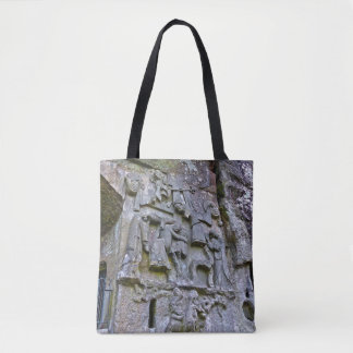 Externsteine, stone carving tote bag