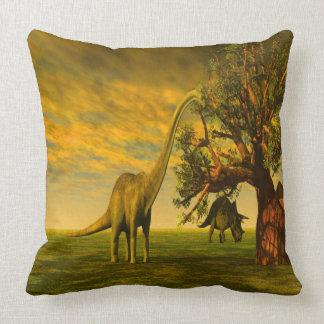 extinct brontosaurus dinosaur throw pillow