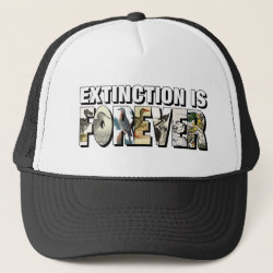 Trucker Hat with Extinction Is Forever design