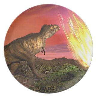 Extinction of dinosaurs - 3D render Dinner Plate