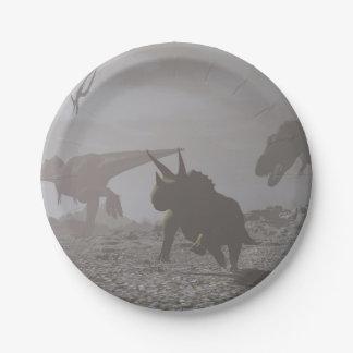 Extinction of dinosaurs - 3D render Paper Plate