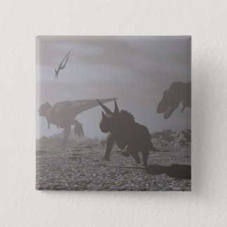 Extinction of dinosaurs - 3D render Pinback Button