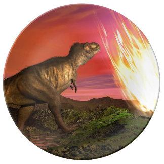 Extinction of dinosaurs - 3D render Plate