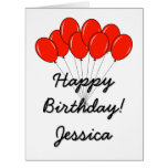 Extra BIG Birthday greeting card with red balloons