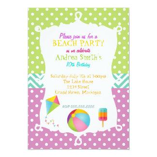 Extra Colorful Beach Birthday 5x7 Paper Invitation Card