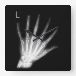 Extra Digit X-ray Left Hand Square Wall Clock