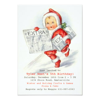 Extra Extra Holiday Birthday Party Invitation