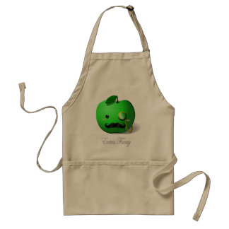 Extra Fancy Green Apple with Moustache Monocle Apron