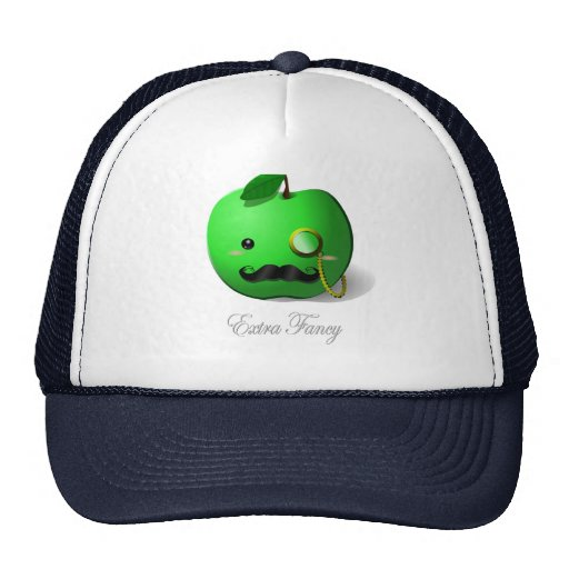 """Extra Fancy"" Green Apple with Moustache & Monocle Hat"
