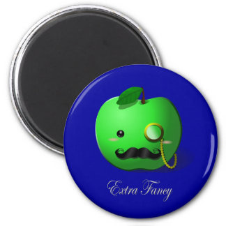 """Extra Fancy"" Green Apple with Moustache & Monocle Magnets"