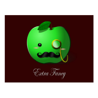 """""""Extra Fancy"""" Green Apple with Moustache & Monocle Postcard"""
