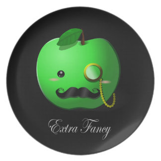 """""""Extra Fancy"""" Green Apple with Moustache Party Plate"""
