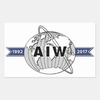Extra Large AIW 25th Anniversary Logo, 4 Per Sheet Rectangular Sticker