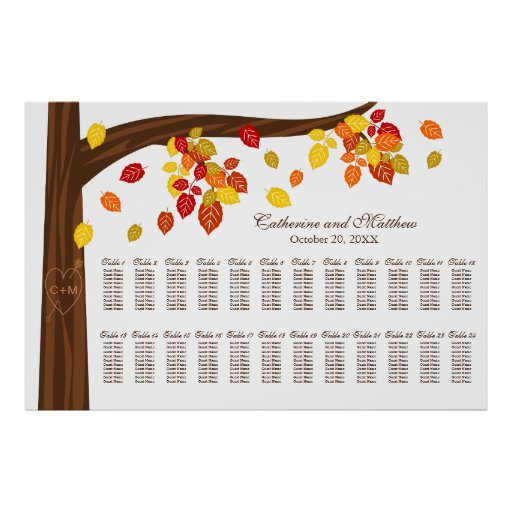 Extra Large Autumn Wedding Seating Chart Poster