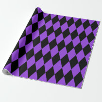 Extra Large Black and Purple Harlequin Wrapping Paper