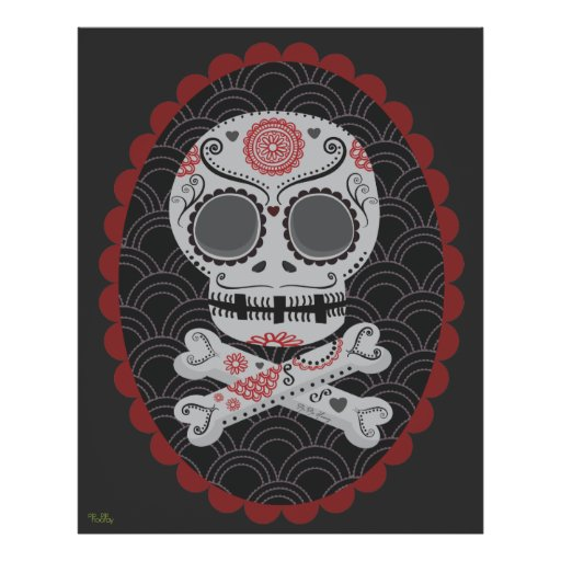 Extra Large Day of the Dead Sugar Skull Vector Art Poster