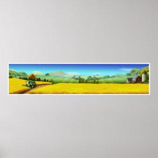 Extra Large Farm Scene Panoramic Art Poster