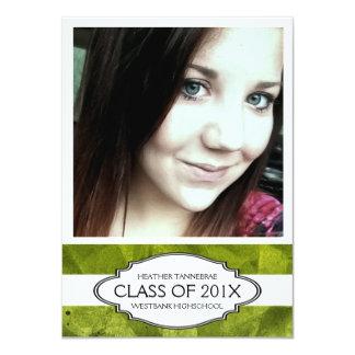 "Extra Large Photo Green Girl Graduate 4.5"" X 6.25"" Invitation Card"