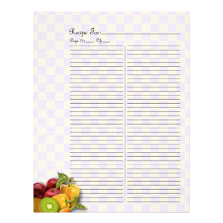 Extra Page For Fruits & Veges Recipe Binder - 2 Custom Letterhead