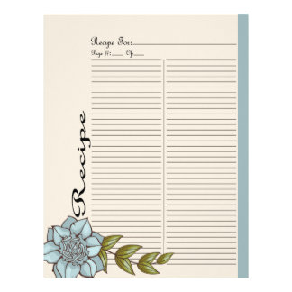 Extra Recipe Page for Blue Rose Recipe Binder - 3B Letterhead