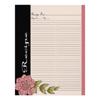Extra Recipe Page for Pink Rose Recipe Binder - 1C Letterhead