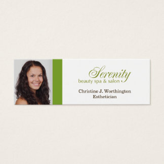 Extra small green custom headshot company logo mini business card