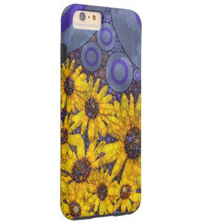 Extracto amarillo azul hermoso de los girasoles funda de iPhone 6 plus tough