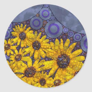 Extracto amarillo azul hermoso de los girasoles pegatina redonda