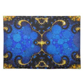 Extracto amarillo azul hermoso mantel