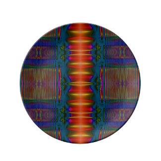Extracto amarillo azul rojo colorido plato de cerámica