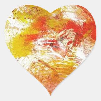 Extracto amarillo rojo pegatina en forma de corazón