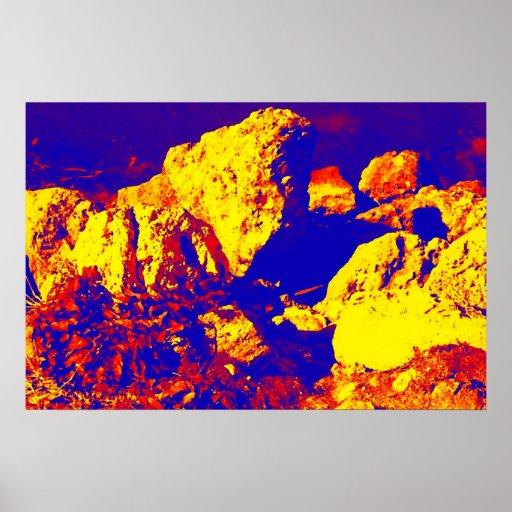 Extracto amarillo rojo pie Pierce de la roca azul Póster
