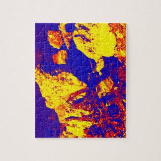 Extracto amarillo rojo pie Pierce de la roca azul Puzzle