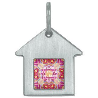 Extracto amarillo rosado placas de nombre de mascota