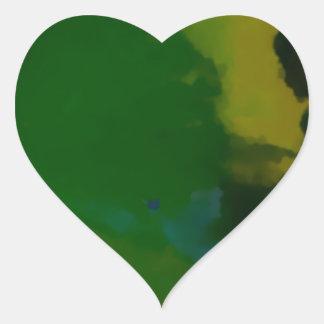 Extracto amarillo verde creativo pegatina en forma de corazón