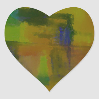 Extracto amarillo verde moderno pegatina en forma de corazón