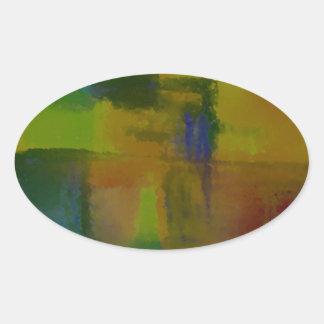 Extracto amarillo verde moderno pegatina ovalada