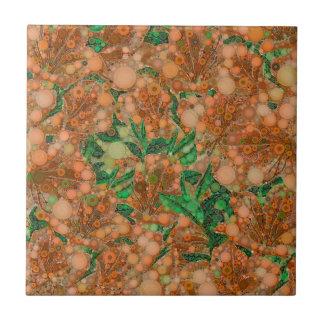 Extracto anaranjado de la flor del verde del azulejo cuadrado pequeño